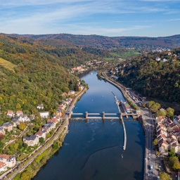 Neckar River from sky – Heidelberg.